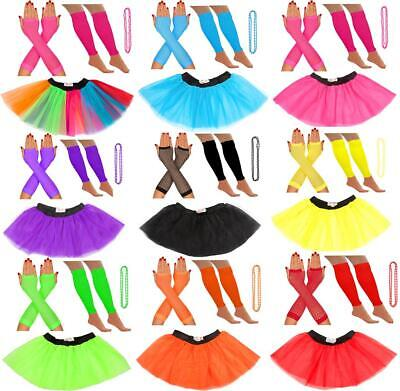 NEON 80s TUTU SKIRT SET LEGWARMERS GLOVES BEADS FANCY DRESS HEN PARTY COSTUMES