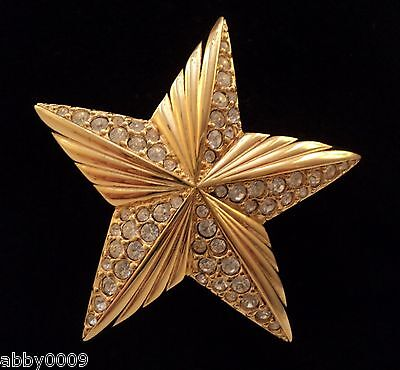 Signed Swan Swarovski Star Gold Plated and Pave Brooch Pin