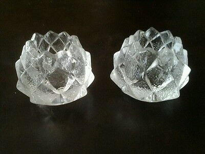 2 Orrefors Sweden Crystal Candle Holders Artichoke Pine Cone Pattern Signed