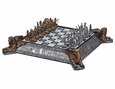 "22"" Gold & Silver Egyptian Chess Set With Storage Board Metal Pewter 3"" King New"