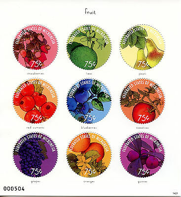 Micronesia 2014 MNH Fruit 9v M/S Strawberries Limes Pears Oranges Guavas Grapes