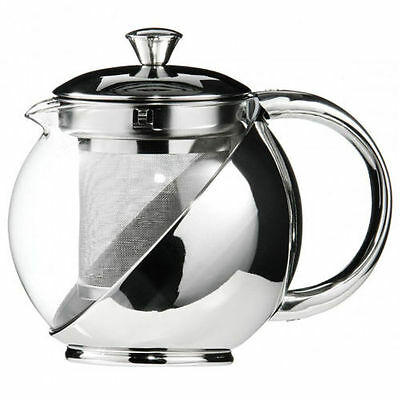 Modern Sylish Stainless Steel & Glass Teapot WITH LOOSE TEA LEAF INFUSER TEA POT