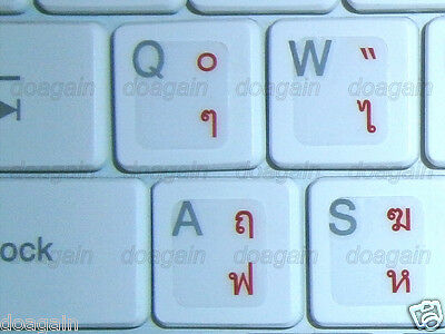 High Quality THAI Kedmanee TRANSPARENT Keyboard Stickers RED Letters