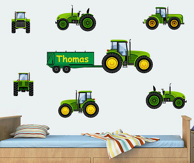 Personalised Tractor Pack - Green - Wall Vinyl Stickers Digger Decals Murals