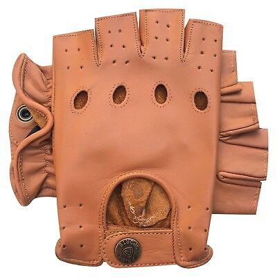 Real Leather Half Finger Driving Gloves Soft Motorbike Bus Retro Style 310 Tan