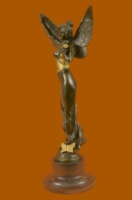 Signed French Large Charming Angel Standing on Rock Bronze Marble Sculpture Deco