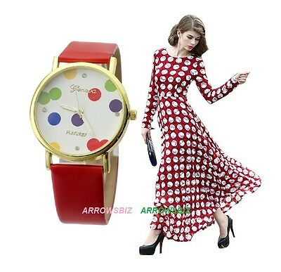 Fashion Casual Women's Girls New Stylish Spotty Dotted Dial Analog Wrist Watch