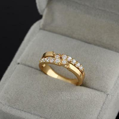 Fashion Girl 18k Gold Plated Embedded Diamond Crystal Ladies Finger Ring Jewelry