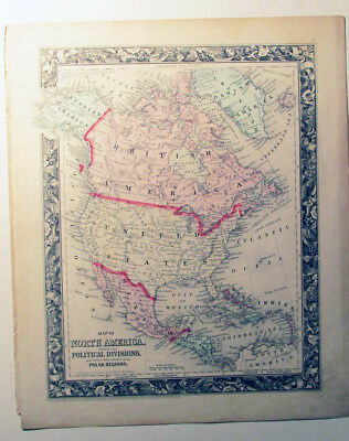 """Mitchell's Antique Map ~ """"Map of North America"""" 1860  detailed"""