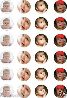 24x PRECUT PERSONALISED UPTO 4 OWN PHOTO/S BIRTHDAY/RICE/WAFER CUP CAKE TOPPERS