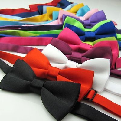 Boys Kids Children's Pre-Tied Satin Bow Tie with Adjustable Strap