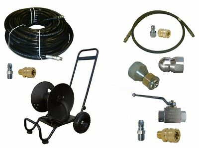 "Sewer Jetter Cleaner Kit - Ball Valve, 150' x 3/8"" Hose, Reel and Nozzles"