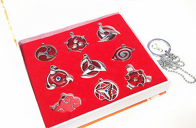 Naruto Set 9PCS Sharingan Konoha Pendant Necklace Keychain Metal Toy Gift New