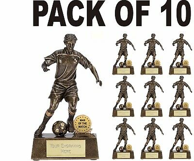 Pack Of 10 Solid Resin Man Of The Match Football Award Trophies Player A876A B10