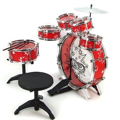 11pc Kids Boy Girl Drum Set Musical Instrument Toy Playset RED New Gift