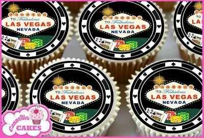 24 x 30TH BIRTHDAY POKER CHIPS EDIBLE CUPCAKE TOPPERS PREMIUM RICE PAPER 7183