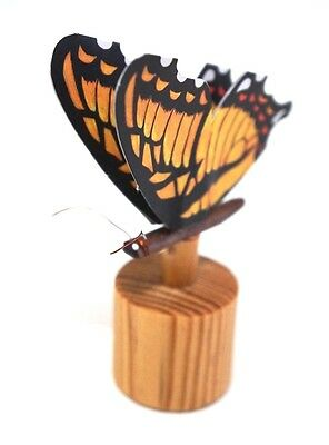 """Handmade Wood """"Yellow Butterfly"""" Push Button / Mini Puppet Moving figure / Toy"""