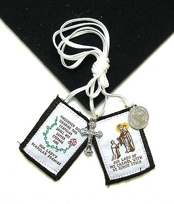 Scapular Regal Wht Our Lady Mt Carmel Brown Scapular 100% Wool & Medals Catholic