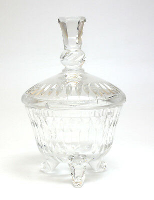 Kusak Berlin Hand Cut Glass Footed & Lidded Jar; Makers Mark on Reverse