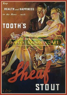 Tooths Sheaf Stout print classic retro beer premium 250gsm satin poster