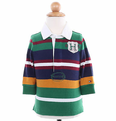 Tommy Hilfiger Children Boy Baby Toddler Long Sleeve Stripe Rugby Polo Shirt
