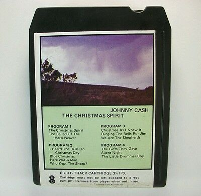 """Vintage JOHNNY CASH """"The Spirit of Christmas"""" country music holiday 8 TRACK TAPE"""