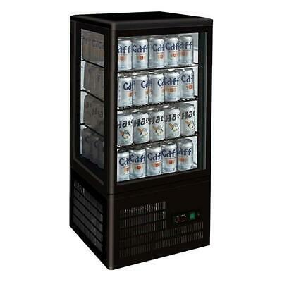 Drink, Cold Food & Cake Display Fridge, Four-sided Countertop 78L Cabinet, Black