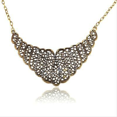 Vintage Retro Lady Crystal Rhinestone Hollow out Choker Chain Necklace Xmas Gift