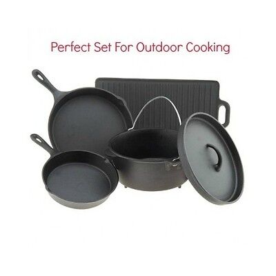 GOURMET CAST IRON COOKWARE SET 5 PIECE HOME CAMPING SKILLETS DUTCH OVEN GRIDDLE