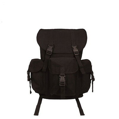BLACK Canvas Outfitter Army Military Rucksack School Backpack Bookbag Daypack