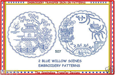 Blue Willow Embroidery Transfer pattern # 507  NEW  -2  IRON-ON transfers