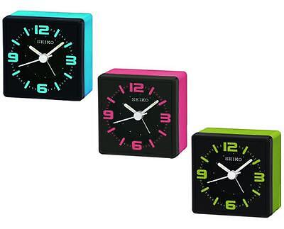 Seiko QHE091 Neon Funky Style Cube Analogue Snooze Bedside Beep Alarm Clock New
