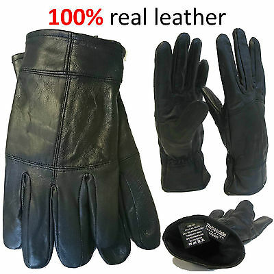 Mens 100% Leather Gloves New Black Soft Thinsulate Warm Winter Thermal Walking
