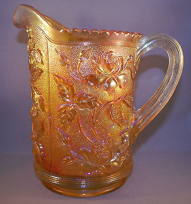 Vintage Imperial Lustre Rose Clambroth Carnival Glass Pitcher