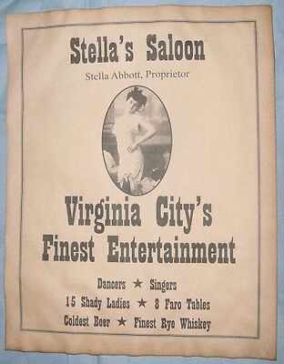 Stella's Saloon Ad Poster, Virginia City Nevada, old west, western, wanted