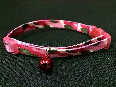 Cat Kitten Collar Adjustable PINK & GREY Quick Release Safety Buckle & Bell