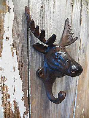 1 Antique-Style Rustic 3-D Moose COAT HOOK Cast Iron Cabin Wall Mount Hardware