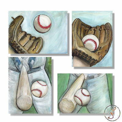 Baseball is My Passion set of 4 paper prints for tween, teen, boy wall art decor