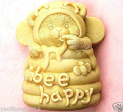 3D Screw Bee Happy Hive Candle Mold Soap Mould Flexible Silicone Handmade