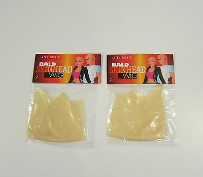 2 New Economy Bald Head Wigs Cap Latex Rubber Skinhead  Costume Prank Gag Gift