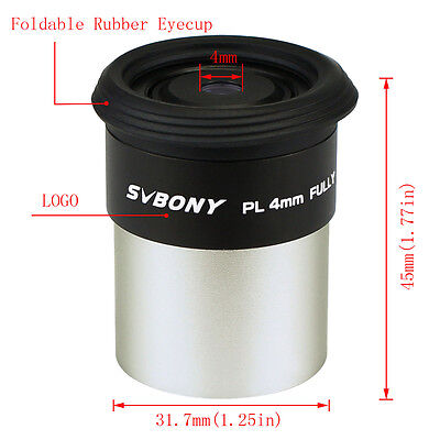 SVBONY 1.25inch 31.7mm Plossl 4mm Eyepiece Lens for Telescope Fully HD Coated Ds