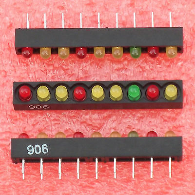 15× TASV4400 9 POSITION 3RED+1GREEN+5YELLOW 3mm LED STRIP BARGRAPH BAR GRAPH †
