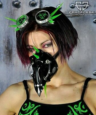 Cryoflesh Doctor Plague Cyber Goth Industrial EDM Rave EMO UV Reactive Gas Mask