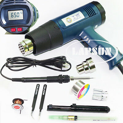 2000W 220V 630°C LCD Electronic Heat Hot Air Gun 8020E + 60W Soldering Iron 708