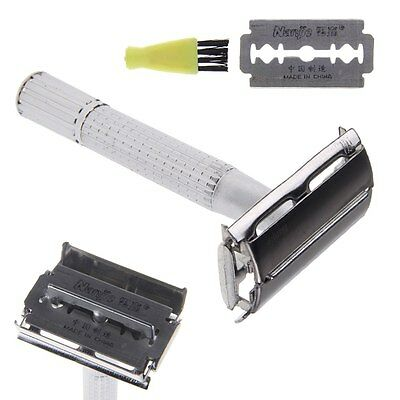 Stainless Steel Manual Shaver Double-Edge Safety Blade Razor With Mirror Case