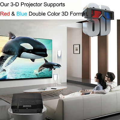 3000 Lumens 3D Home Cinema Theater Projector LCD HDMI S-video VGA Audio 1080P
