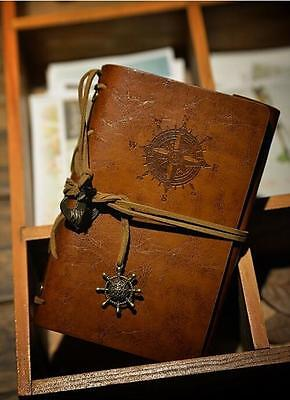 DC BROWN Leather Cover Notebook Journal Diary Blank String Nautical BW Applied