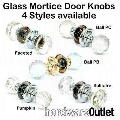 REAL SOLID GLASS MORTICE KNOBS SET Internal Latch Door Handle 1 Pair