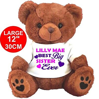 "Personalised  Teddy Bear Brown 30Cm/12""  Big Sister Brother Birthday Gifts"