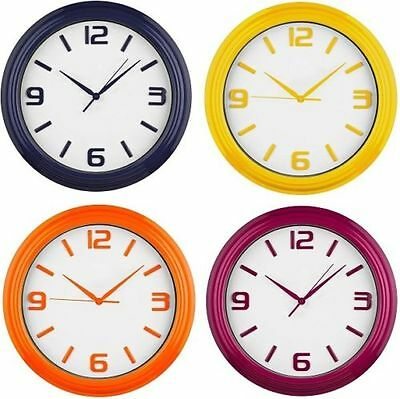 Retro Plastic Wall Mounted Clock Analogue Display Home Office Clock In 4 Color's